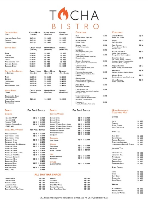 Tocha drinks menu
