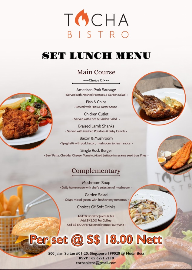 Tocha Lunch menu